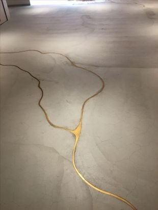 concrete with liquid gold filled in to the cracks found on nutritionstripped.com