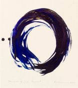 Making the enso—the Zen circle that conveys everything, the whole world, complete, the ultimate Zen symbol of emptiness—is kind of a practice. Ensos are traditionally done in sumi ink, black on white, but Kazuaki Tanahashi is well known for his colorful ones, which he makes with one brushstroke found on gallery.shambhalasun.com