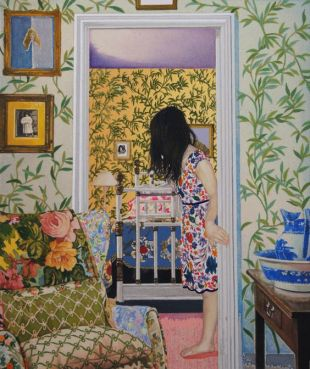 Japanese-based artist Naomi Okubo explores people's relationships with fashion and their appearance in these paintings with heavily detailed patterns found on design-milk.com
