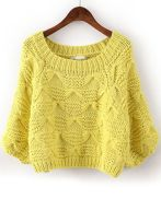 Yellow Batwing Sleeve Bow Inset Knit Sweater found on sheinside.com