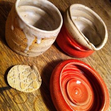 cup, milkjug, bowl of white stoneware with glaze