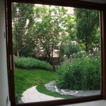 natural planting in urban garden, view from window.mary reynolds landscape design
